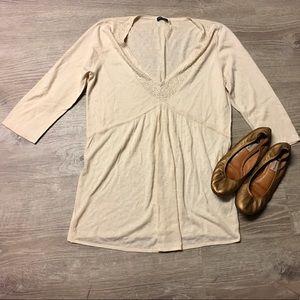 Magaschoni Tops - Magaschoni White Jeweled Silk Sweater Size Medium